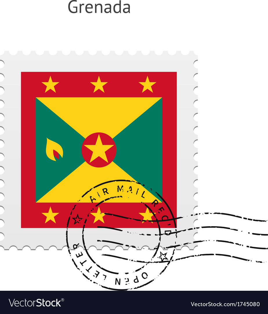 Grenada flag postage stamp vector   Price: 1 Credit (USD $1)