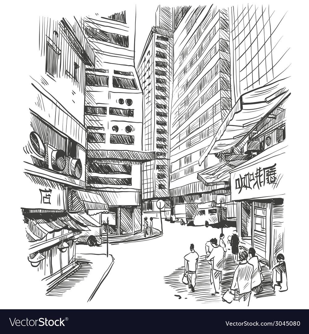 Hong kong drawing vector | Price: 1 Credit (USD $1)