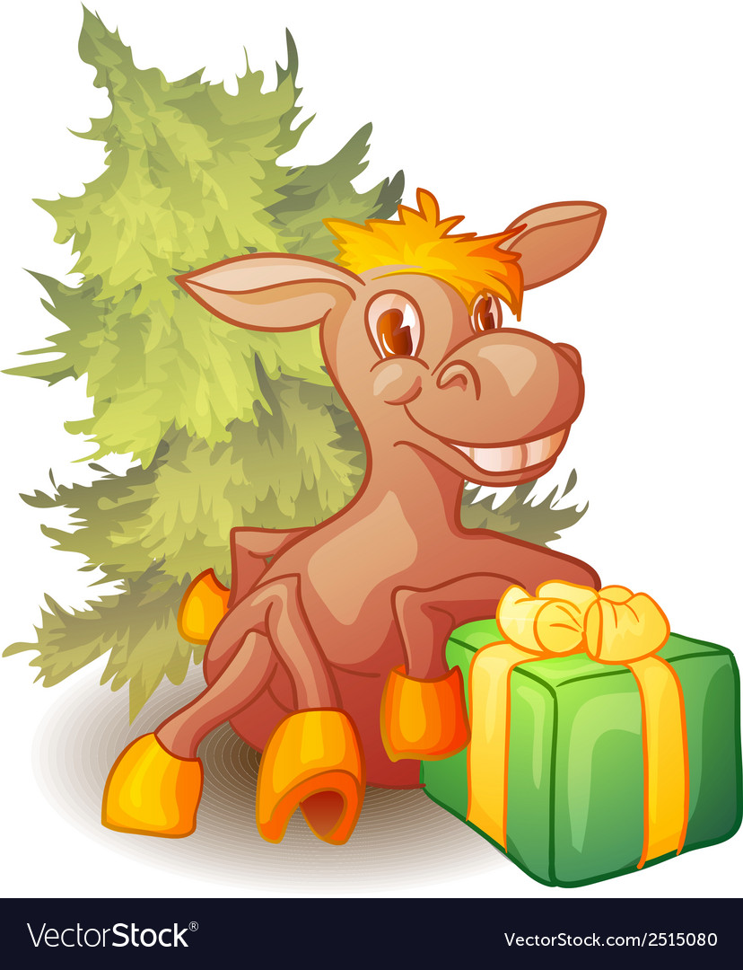 Horse with present and fir-tree vector | Price: 1 Credit (USD $1)