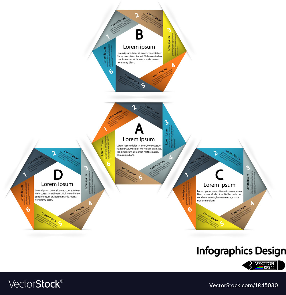 Modern hexagon infographics options banner vector | Price: 1 Credit (USD $1)
