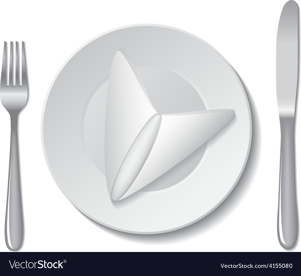 Napkin plate cutlery vector | Price: 1 Credit (USD $1)