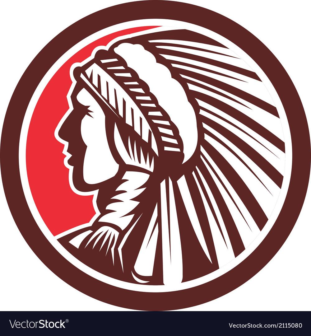 Native american warrior chief circle vector | Price: 1 Credit (USD $1)