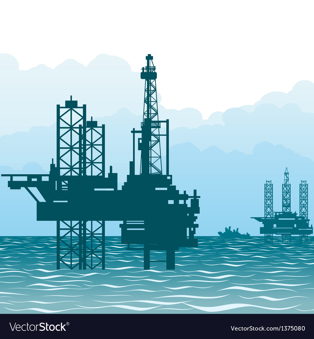 Oil rigs at sea-1 vector | Price: 1 Credit (USD $1)