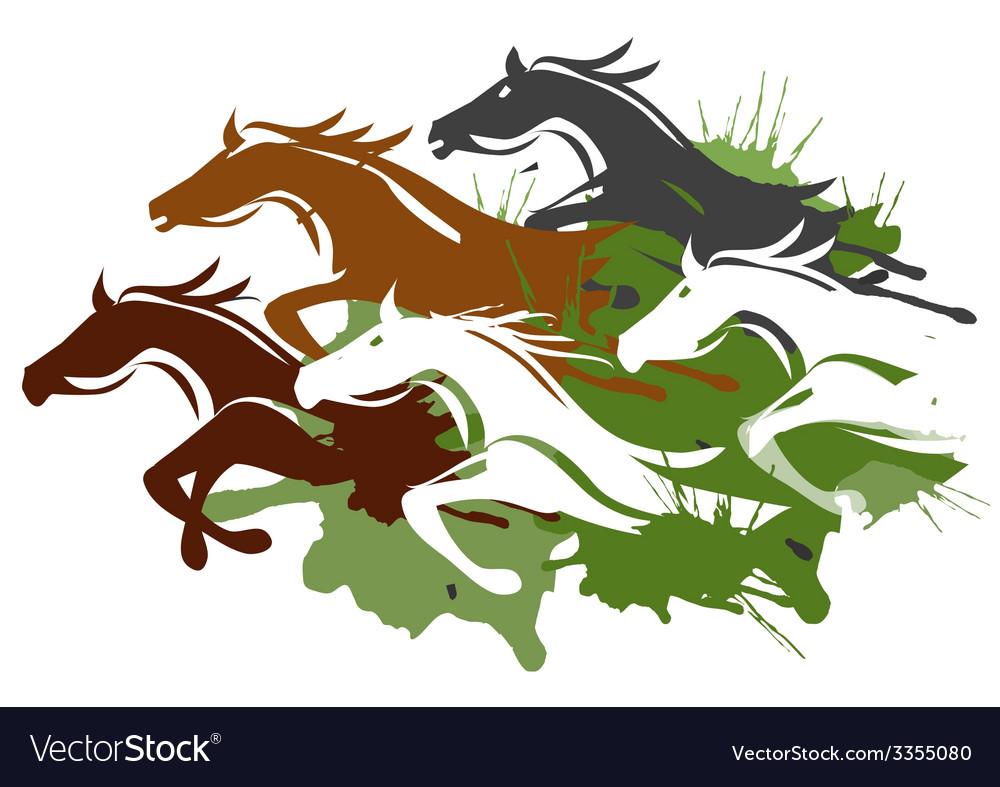Running horses vector | Price: 1 Credit (USD $1)
