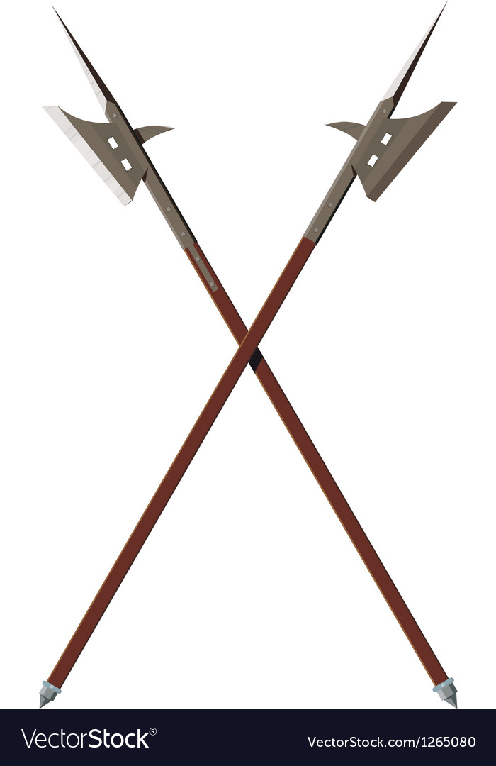 Two crossed battle halberds vector | Price: 1 Credit (USD $1)