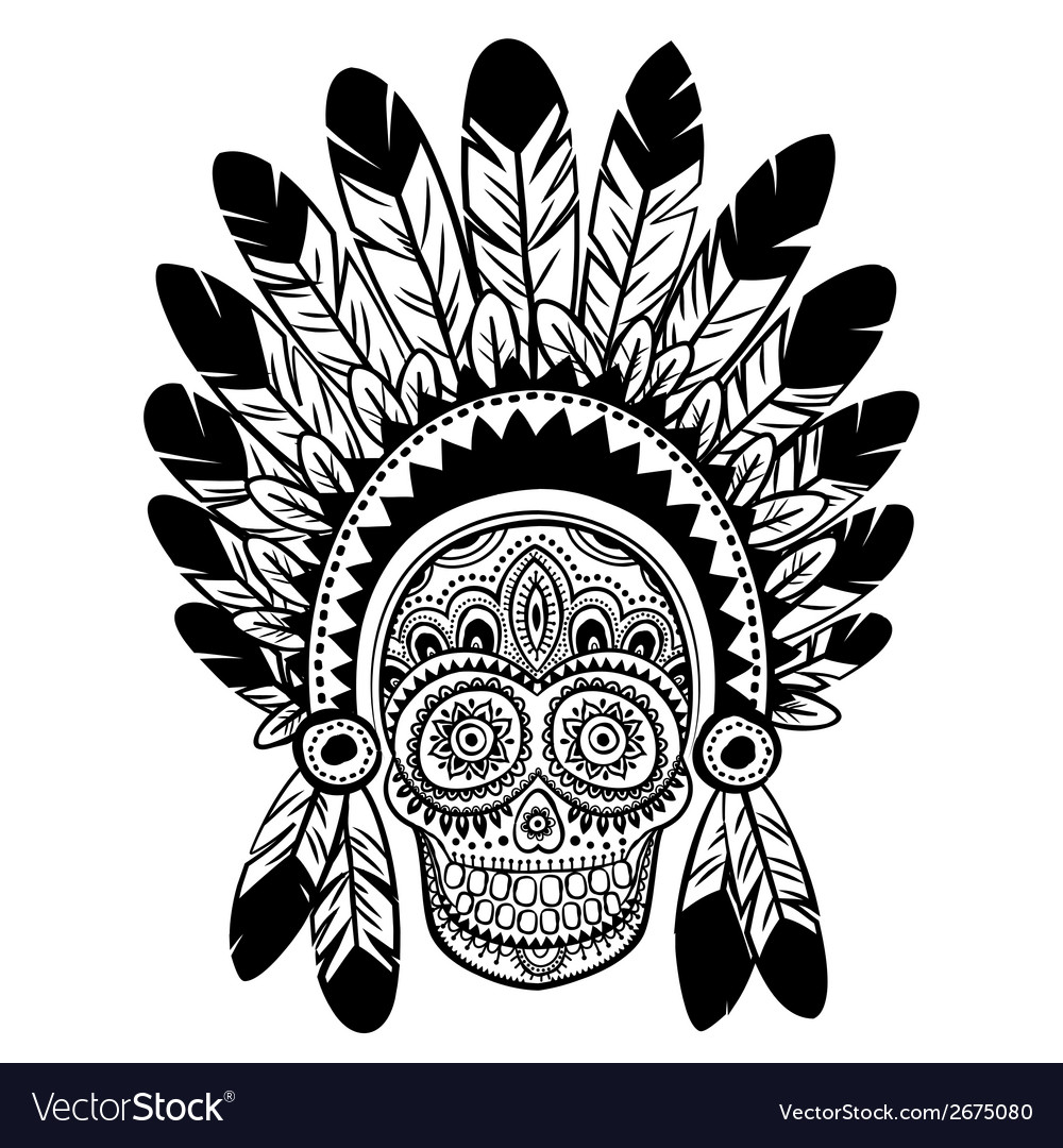 Vintage ethnic hand drawn human skull vector | Price: 1 Credit (USD $1)