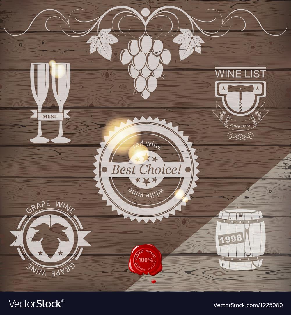 White wine emblems vector