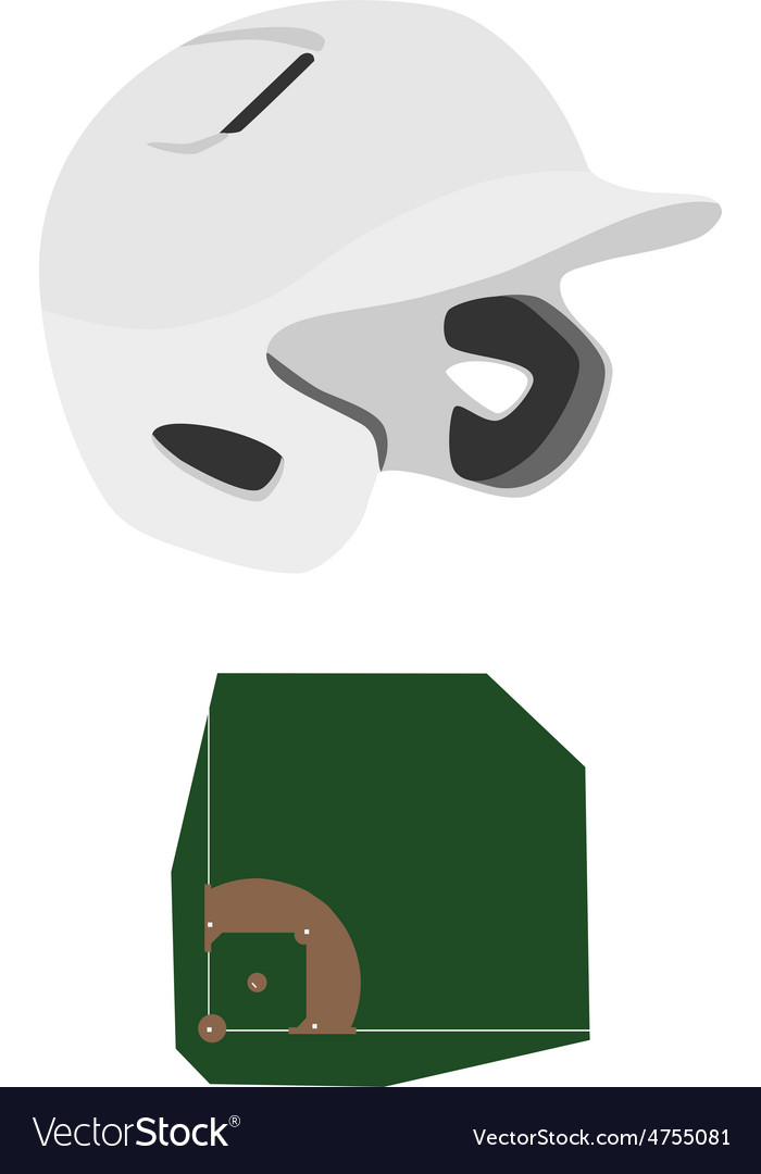Baseball helmet and field vector | Price: 1 Credit (USD $1)