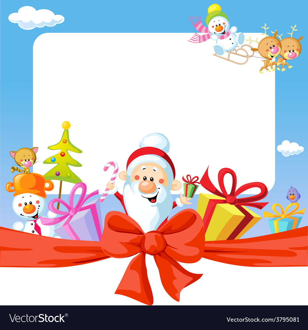 Christmas frame wit santa claus and gifts- funny vector | Price: 1 Credit (USD $1)