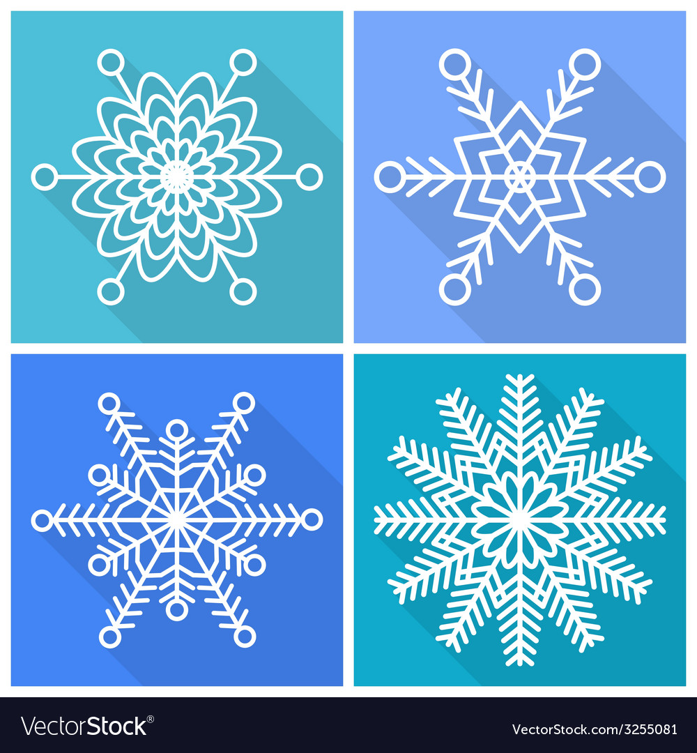 Collection of snowflakes icons vector | Price: 1 Credit (USD $1)