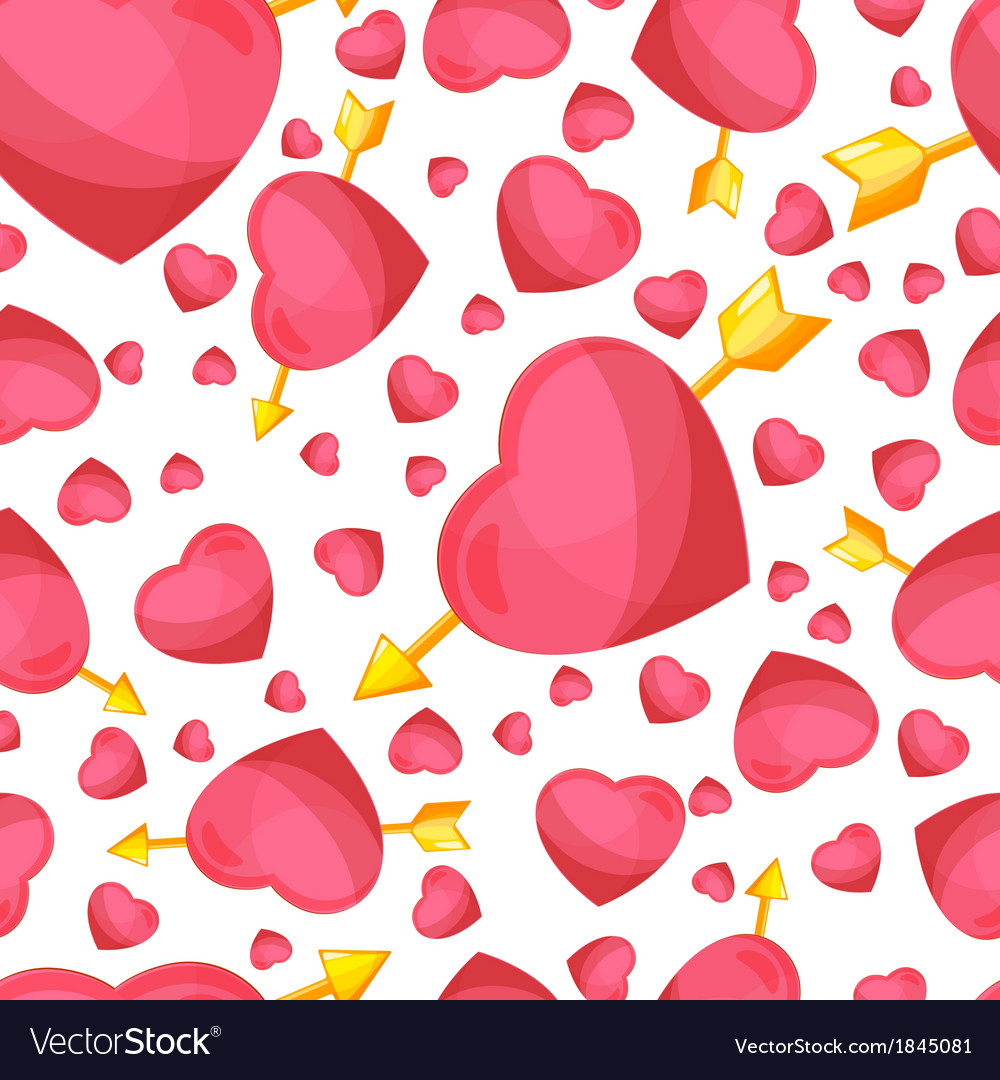 Hearts and arrow seamless background vector | Price: 1 Credit (USD $1)