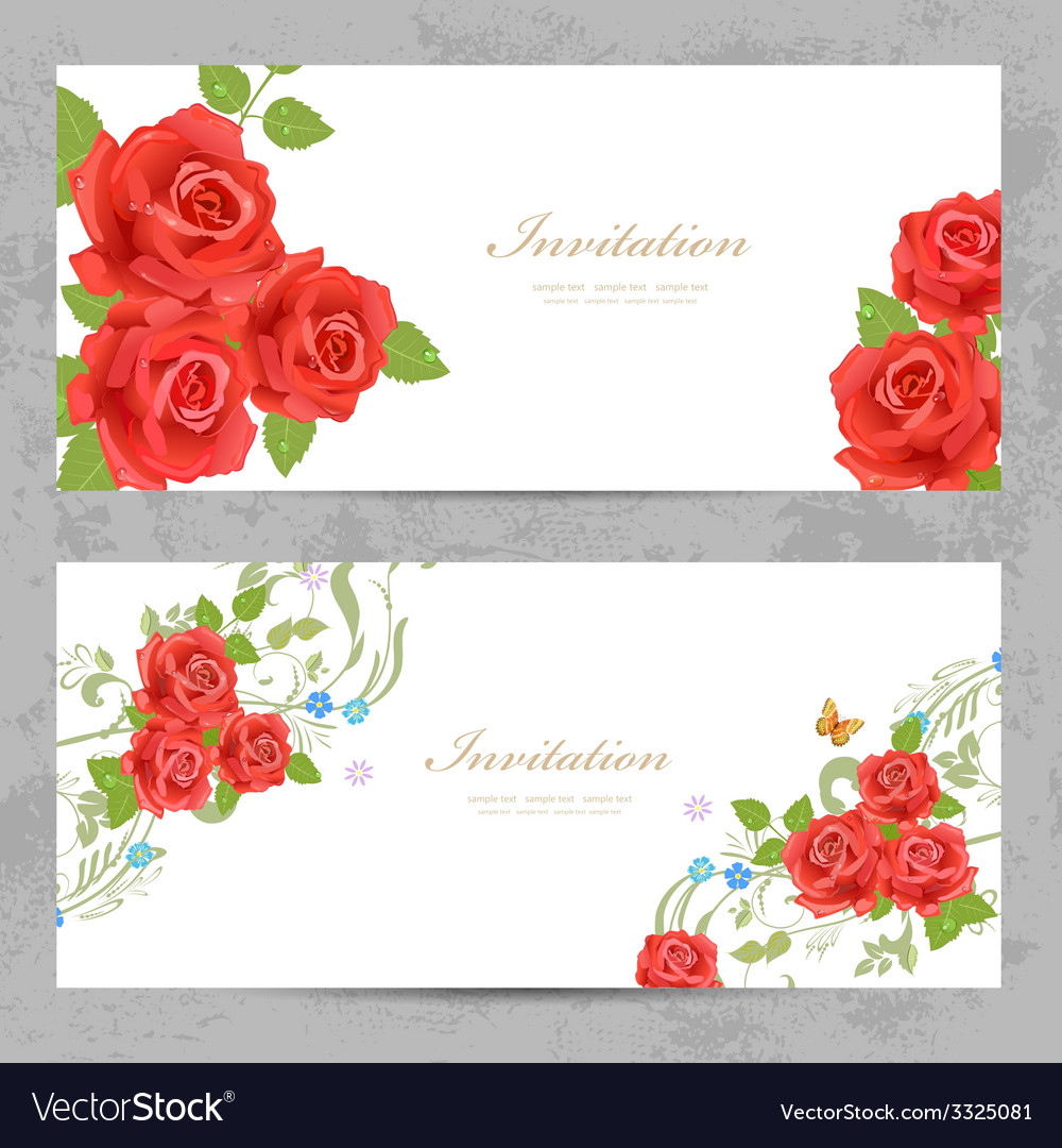 Invitation cards with a red roses for your design vector