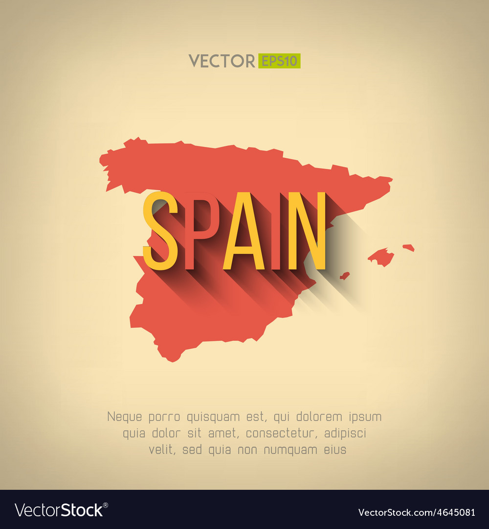 Spain map in flat design spanish border vector | Price: 1 Credit (USD $1)