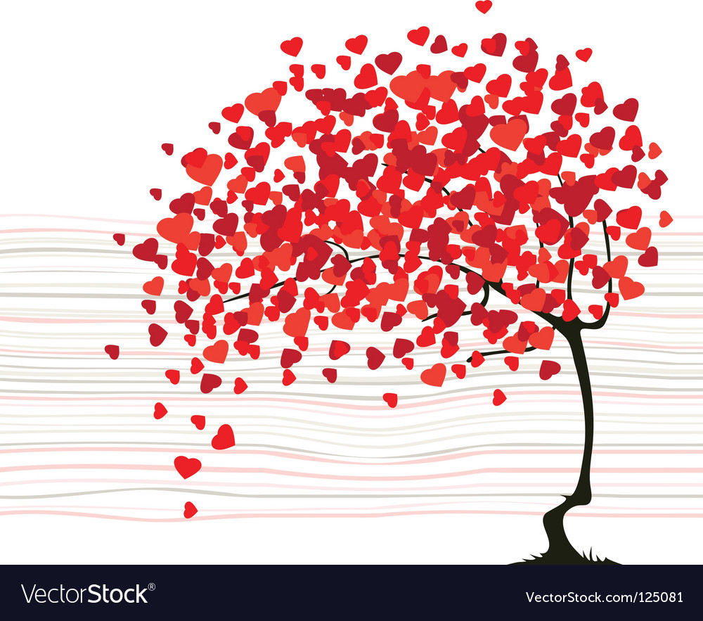 Valentines day abstract with a tree vector | Price: 1 Credit (USD $1)