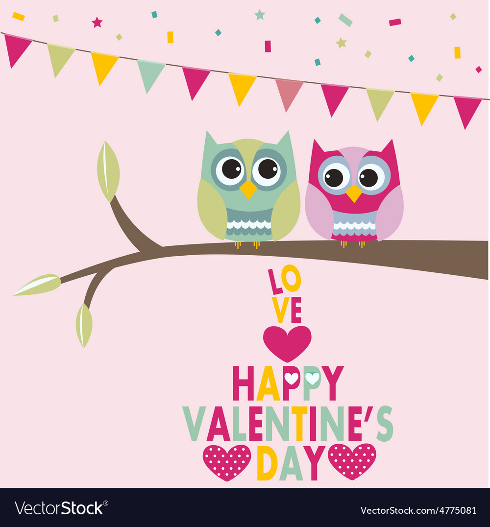 Valentines day owls vector | Price: 1 Credit (USD $1)