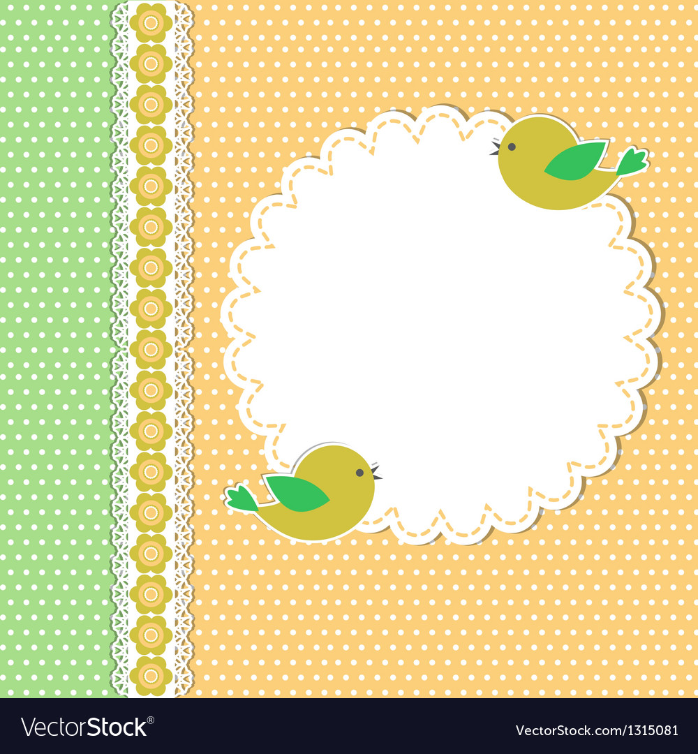 Vintage template with two birds vector | Price: 1 Credit (USD $1)