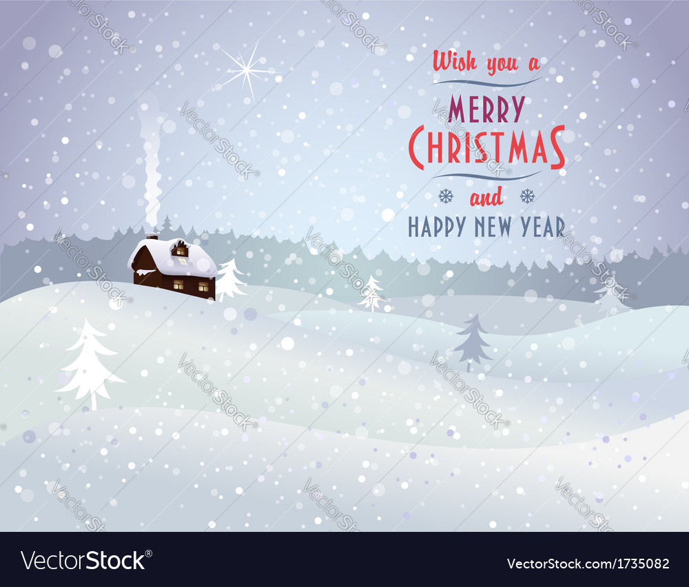 Christmas landscape with house vector   Price: 1 Credit (USD $1)