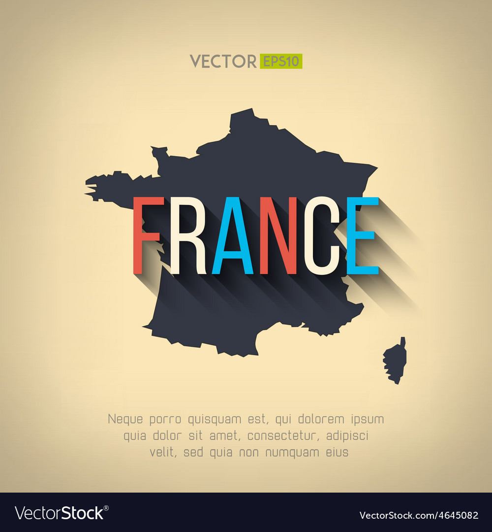 France map in flat design french border vector | Price: 1 Credit (USD $1)