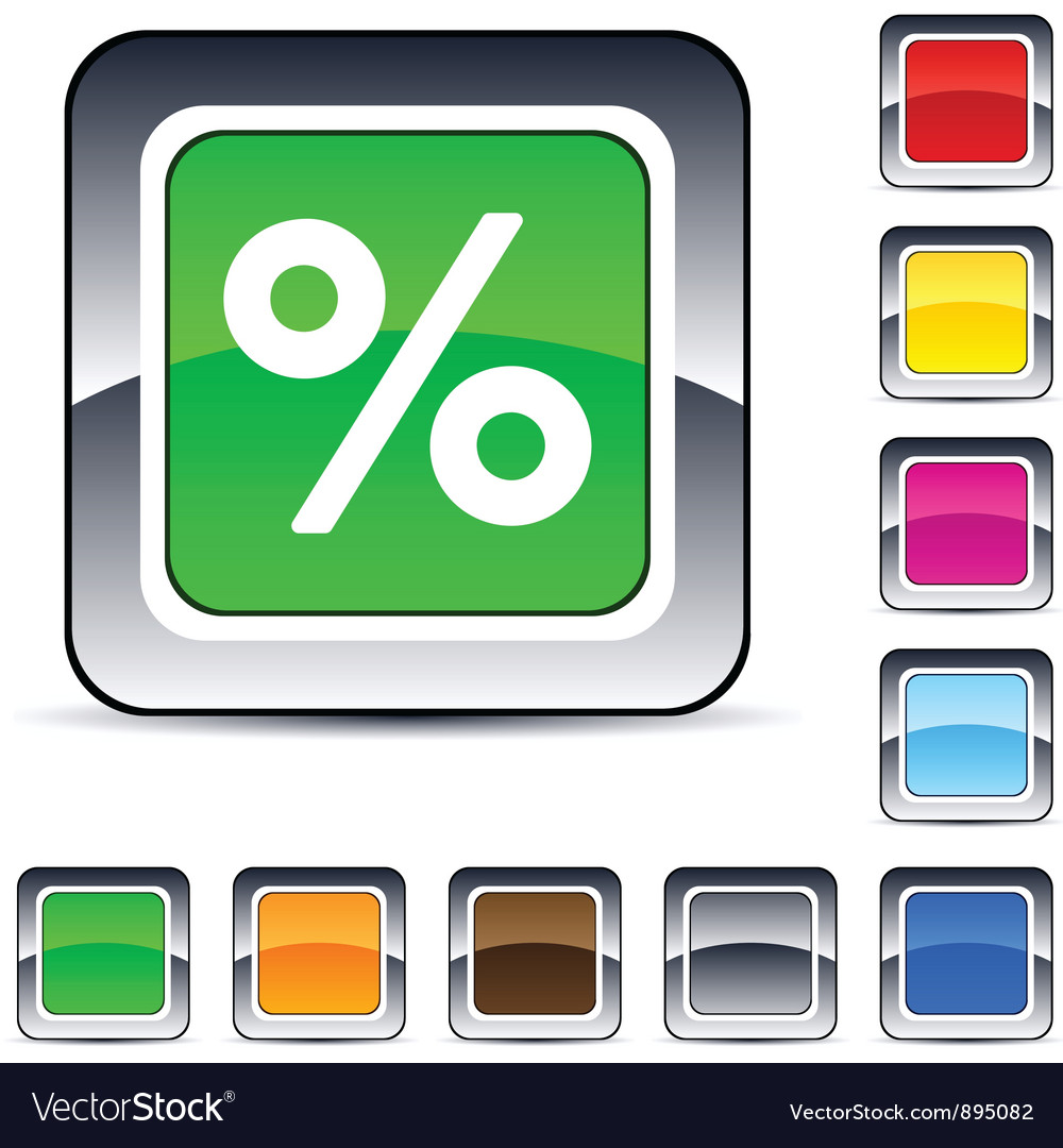 Percent square button vector | Price: 1 Credit (USD $1)