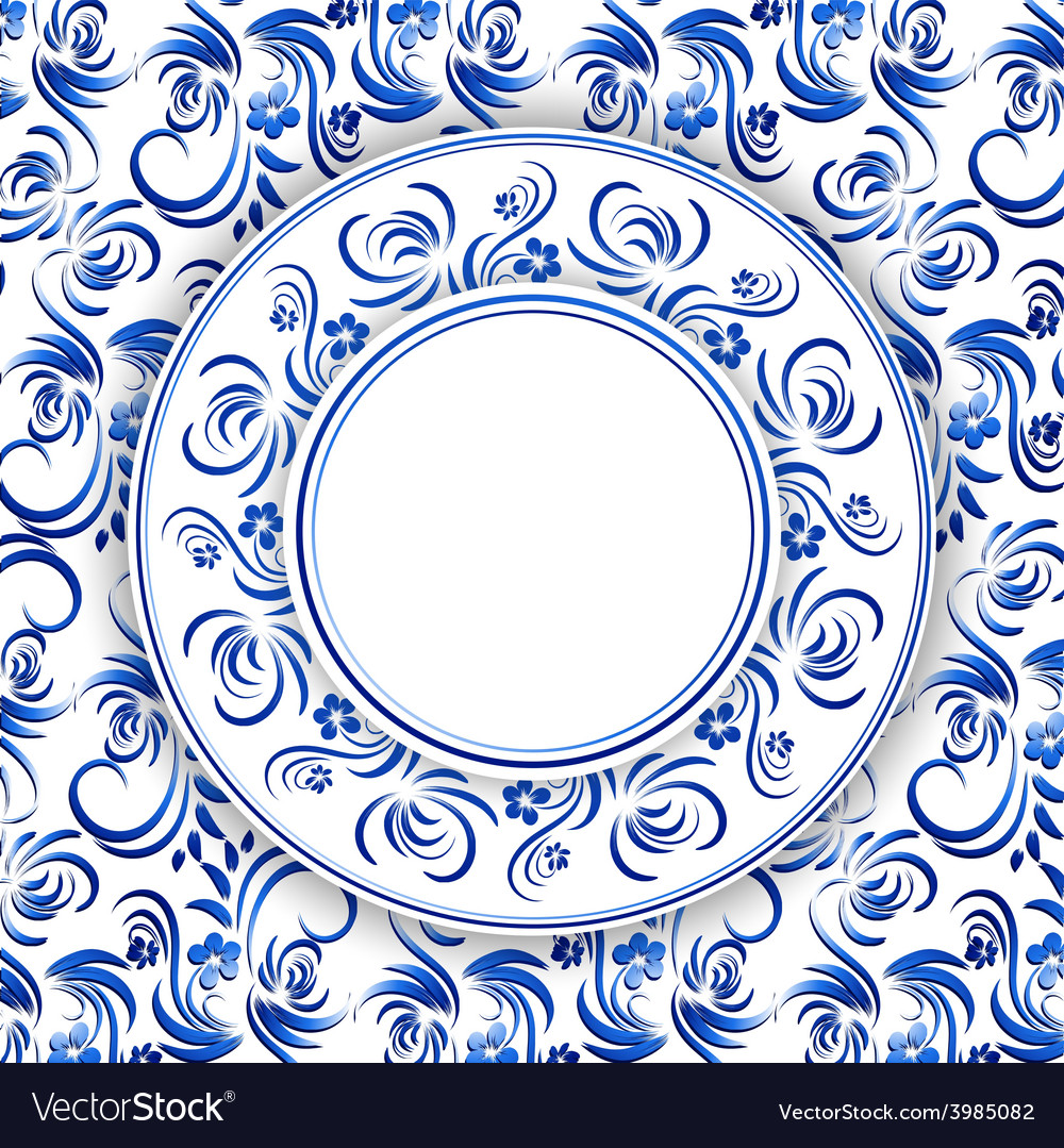 Russian gzhel round frame vector | Price: 1 Credit (USD $1)