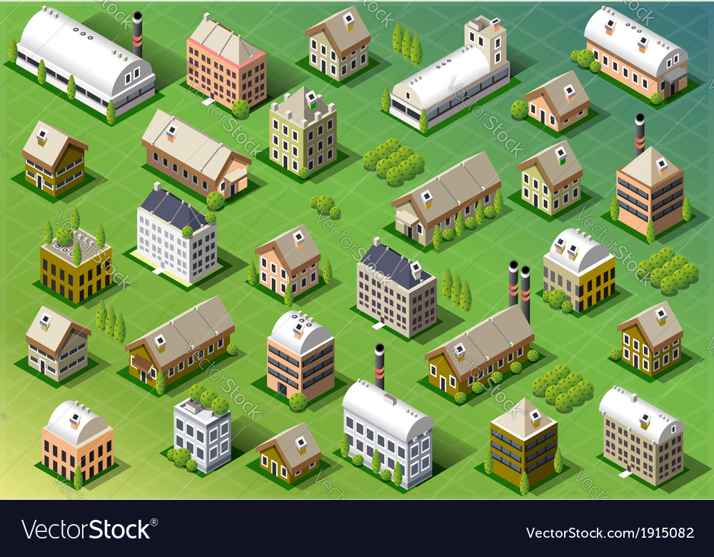 Set of isometric building in spring vector | Price: 1 Credit (USD $1)