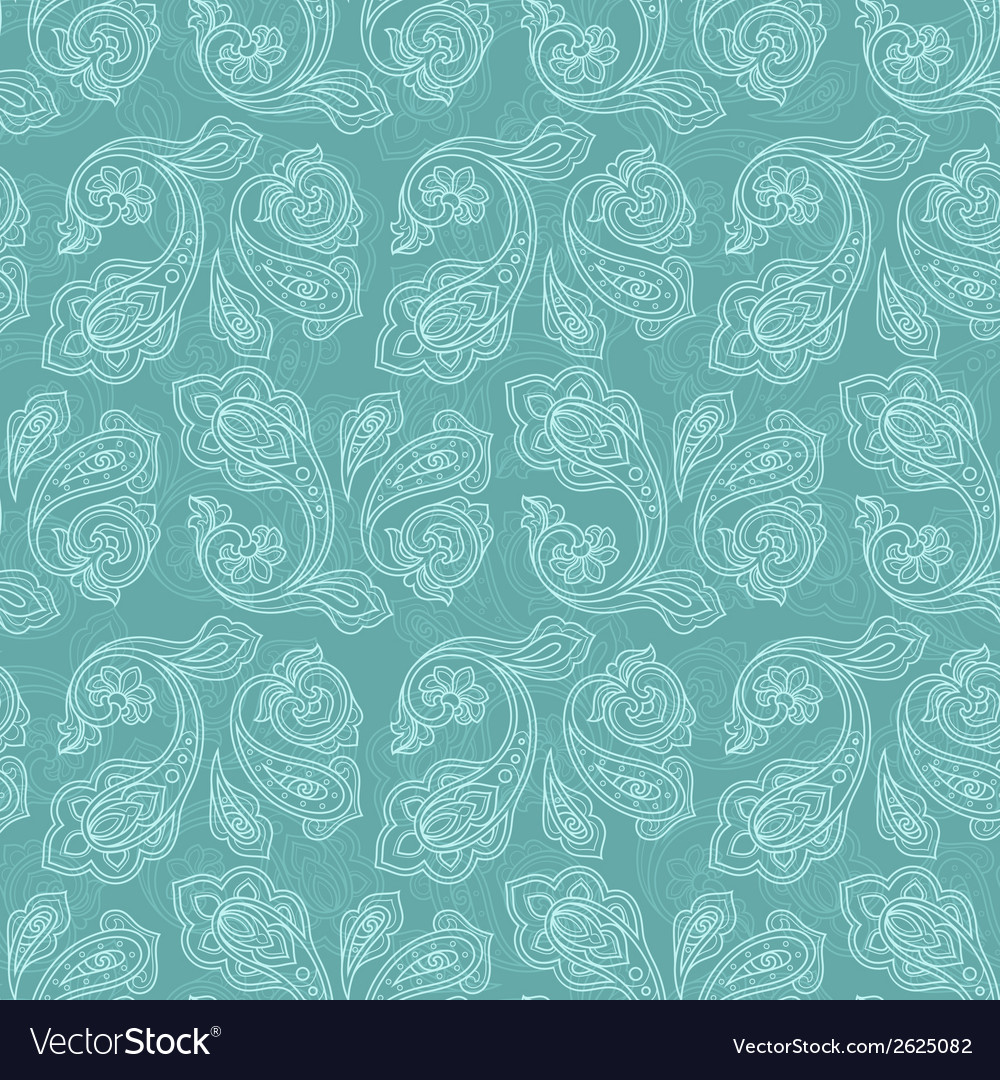 Turkish cucumber seamless pattern turquoise style vector | Price: 1 Credit (USD $1)