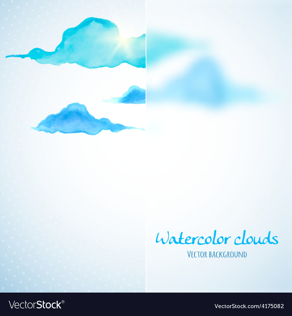 Watercolor clouds background with glass banner vector | Price: 1 Credit (USD $1)
