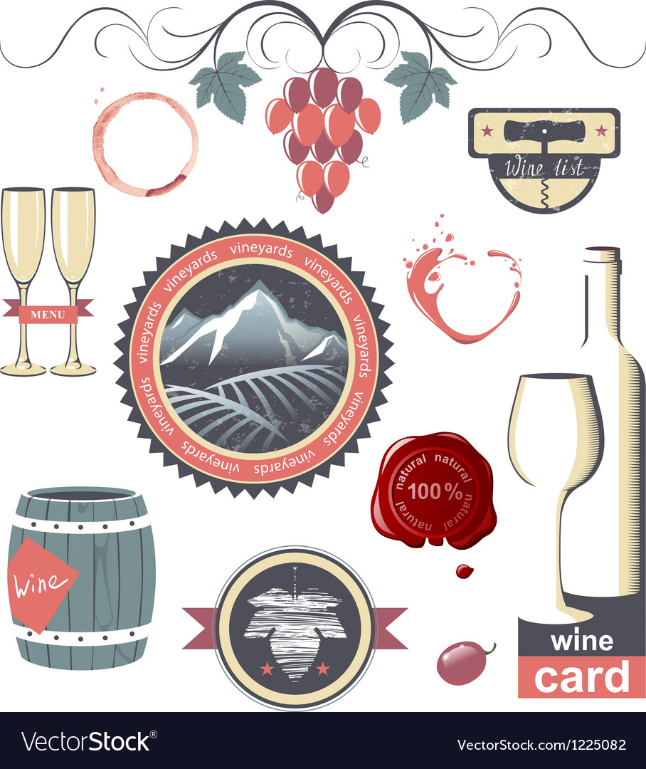 Wine emblems vector | Price: 3 Credit (USD $3)