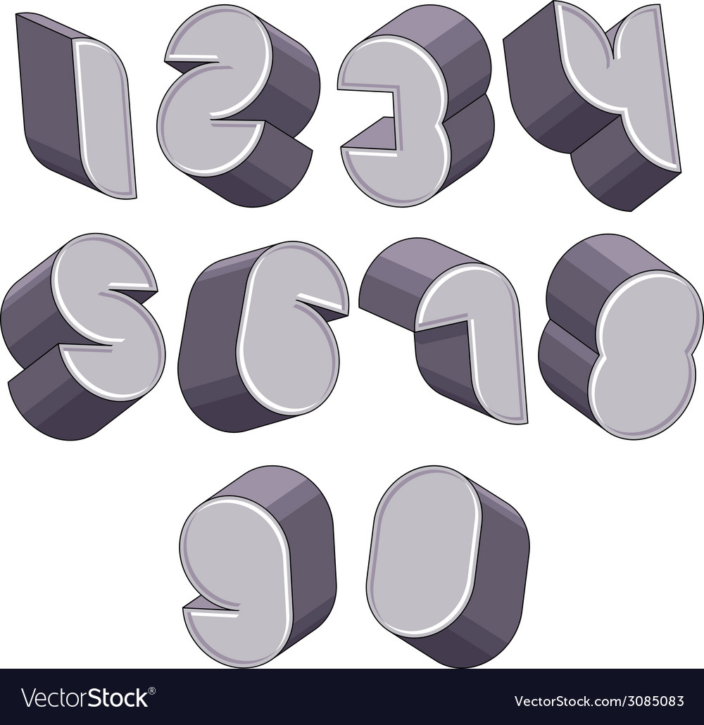 3d futuristic numbers set vector | Price: 1 Credit (USD $1)