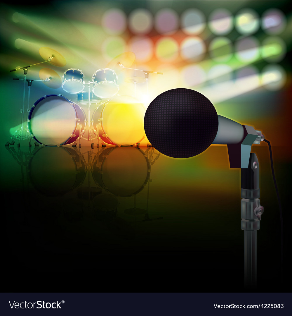 Abstract background with drum kit and microphone vector | Price: 3 Credit (USD $3)