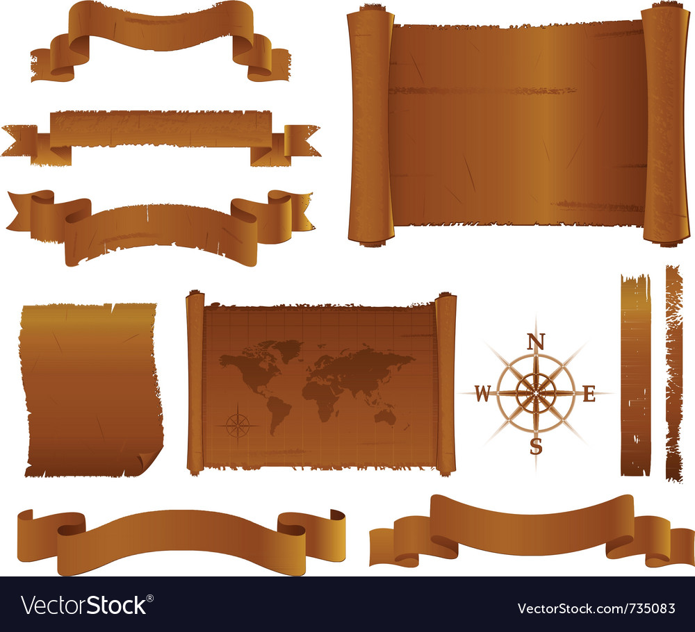 Antique old banners parchment vector | Price: 1 Credit (USD $1)