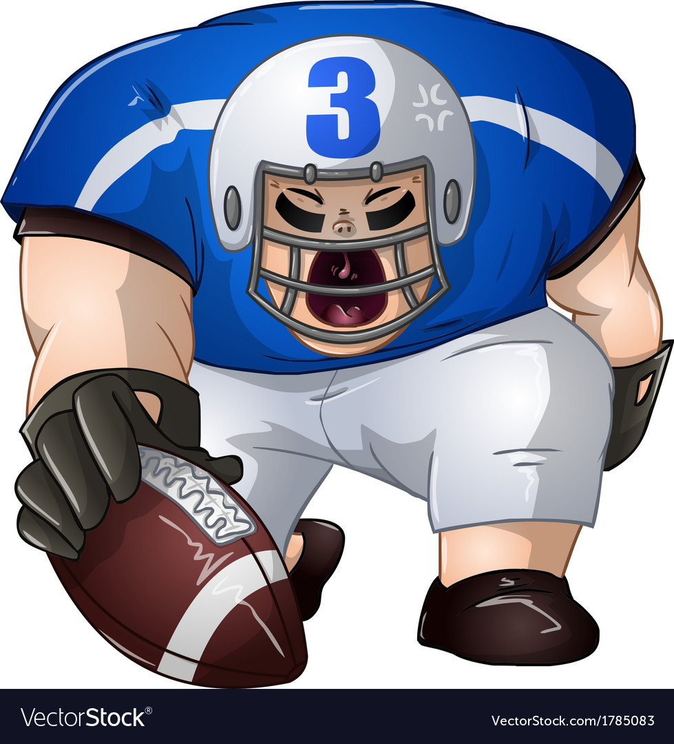Blue white football player kneels and holds ball vector | Price: 1 Credit (USD $1)