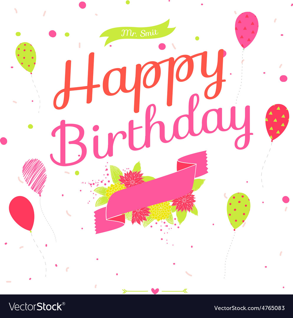 Cute romantic and lovely happy birthday card with vector | Price: 1 Credit (USD $1)