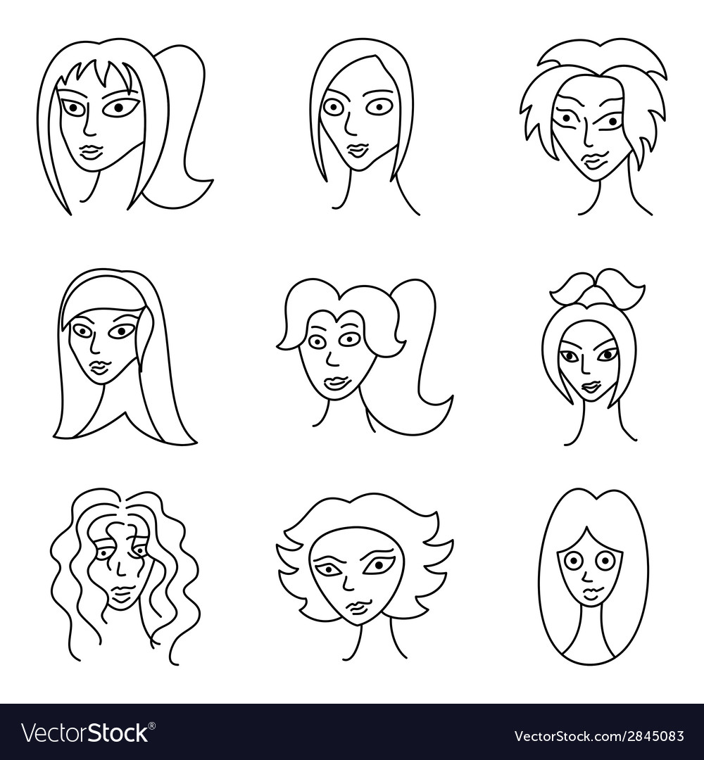 Different comic woman faces vector | Price: 1 Credit (USD $1)