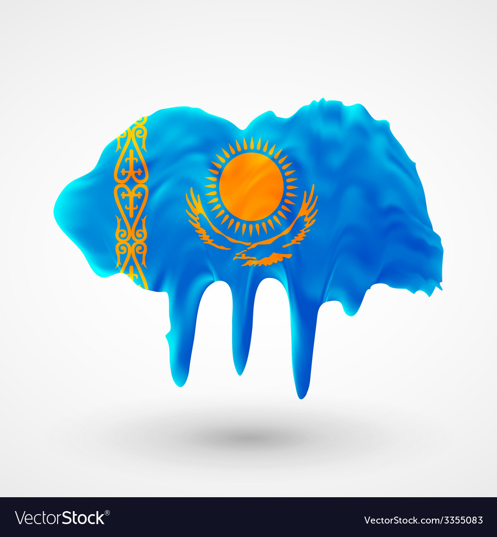 Flag of kazakhstan painted colors vector | Price: 3 Credit (USD $3)