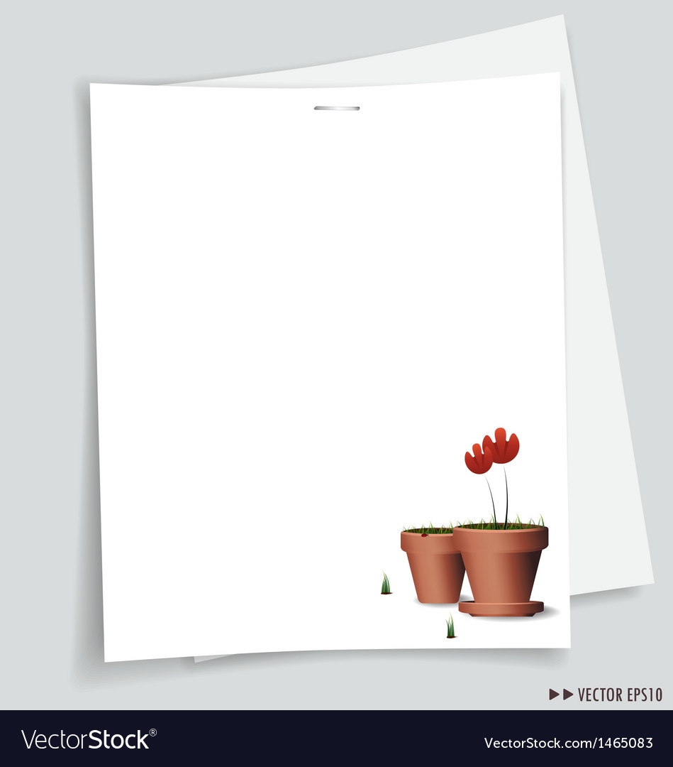 Flower pot white papers vector | Price: 1 Credit (USD $1)