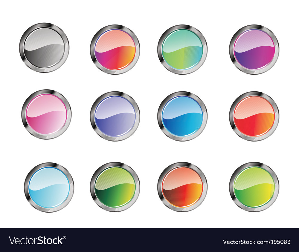 Glossy button set vector | Price: 3 Credit (USD $3)