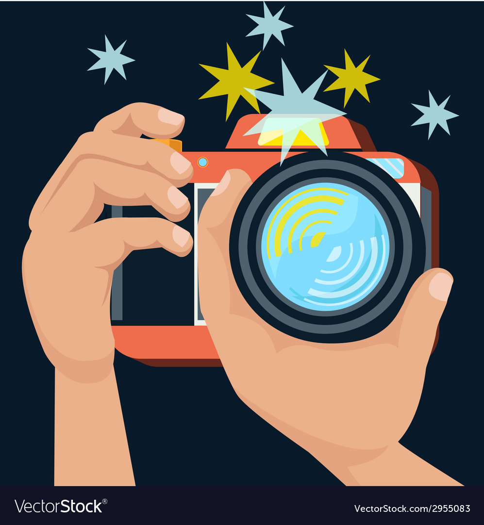 Hands holding camera vector | Price: 1 Credit (USD $1)