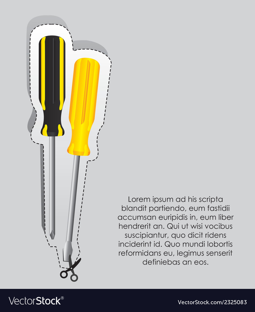 Label two screwdrivers with cutting lines vector | Price: 1 Credit (USD $1)