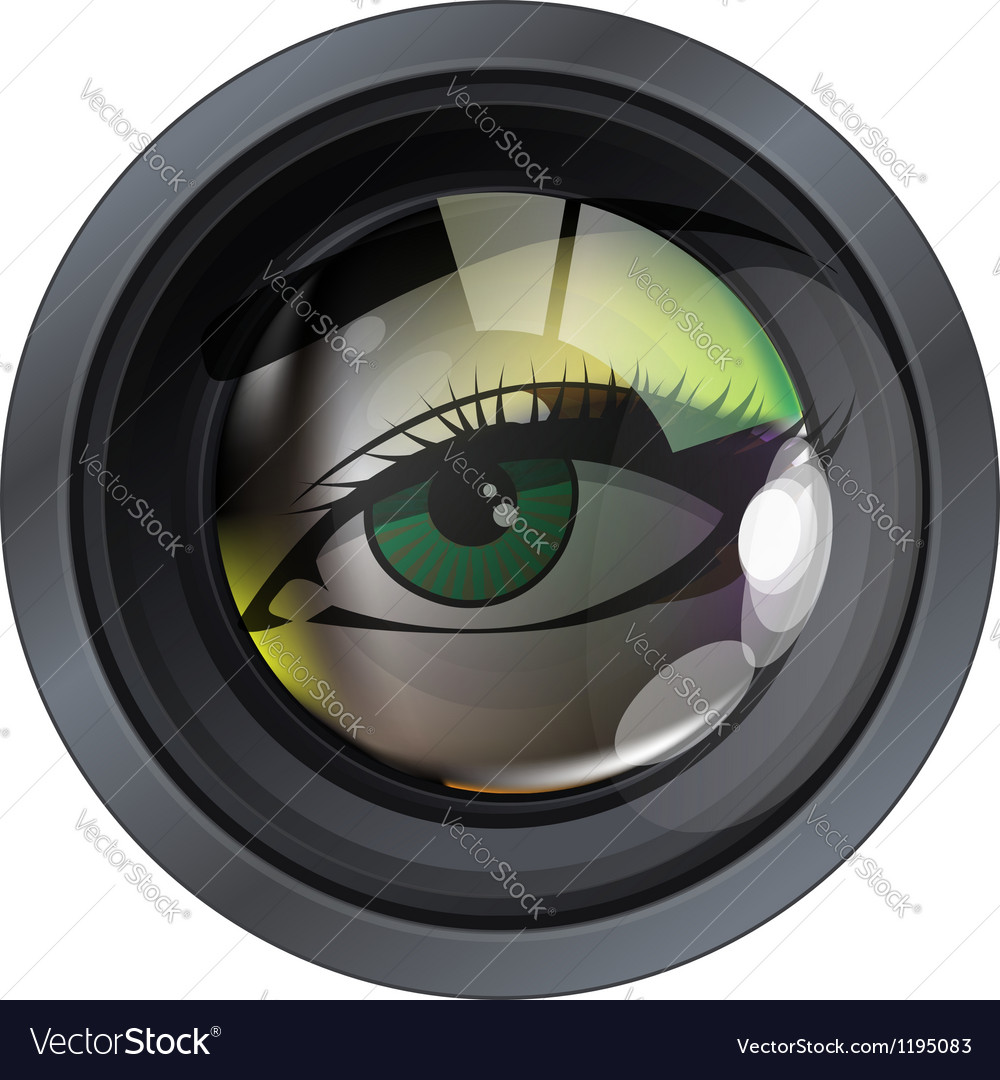 Professional model on photo lens vector | Price: 1 Credit (USD $1)