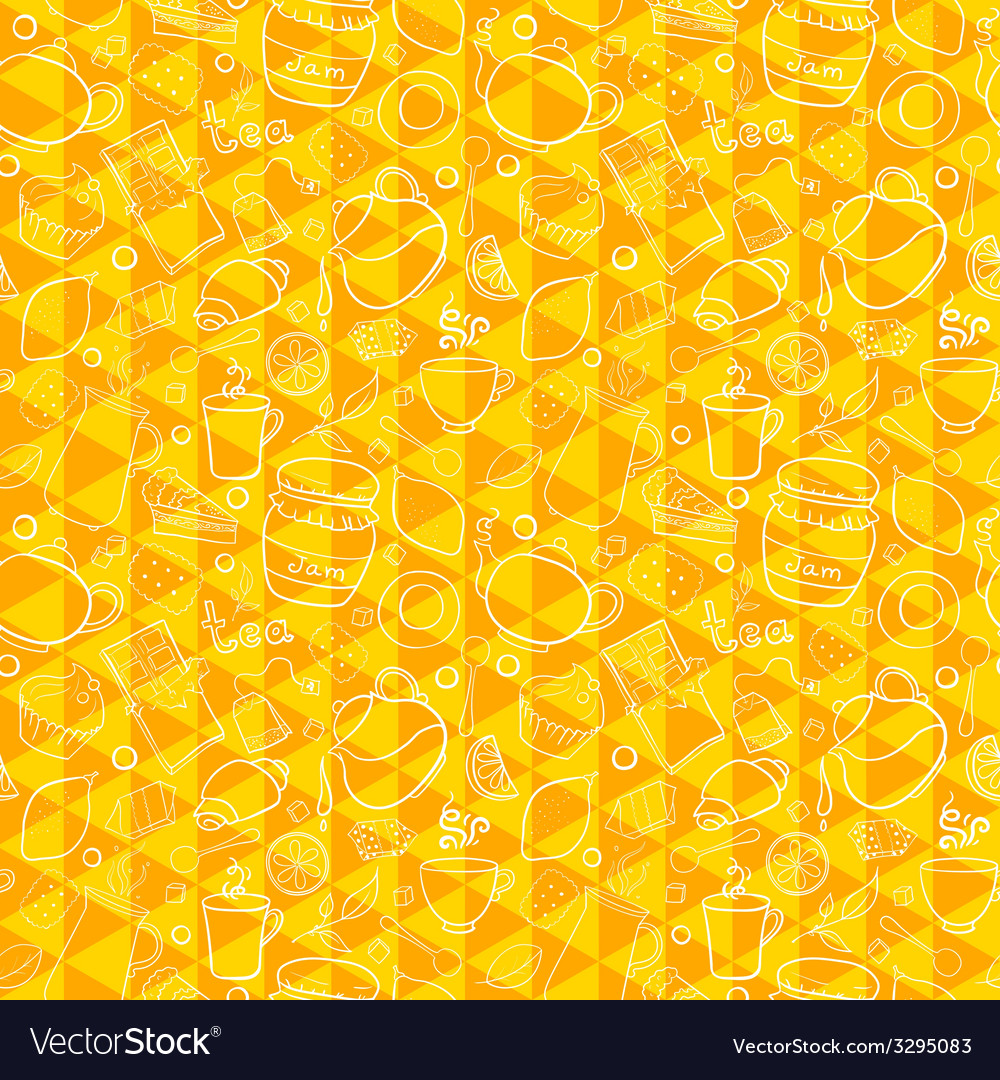 Tea and sweets seamless pattern on geometric vector | Price: 1 Credit (USD $1)
