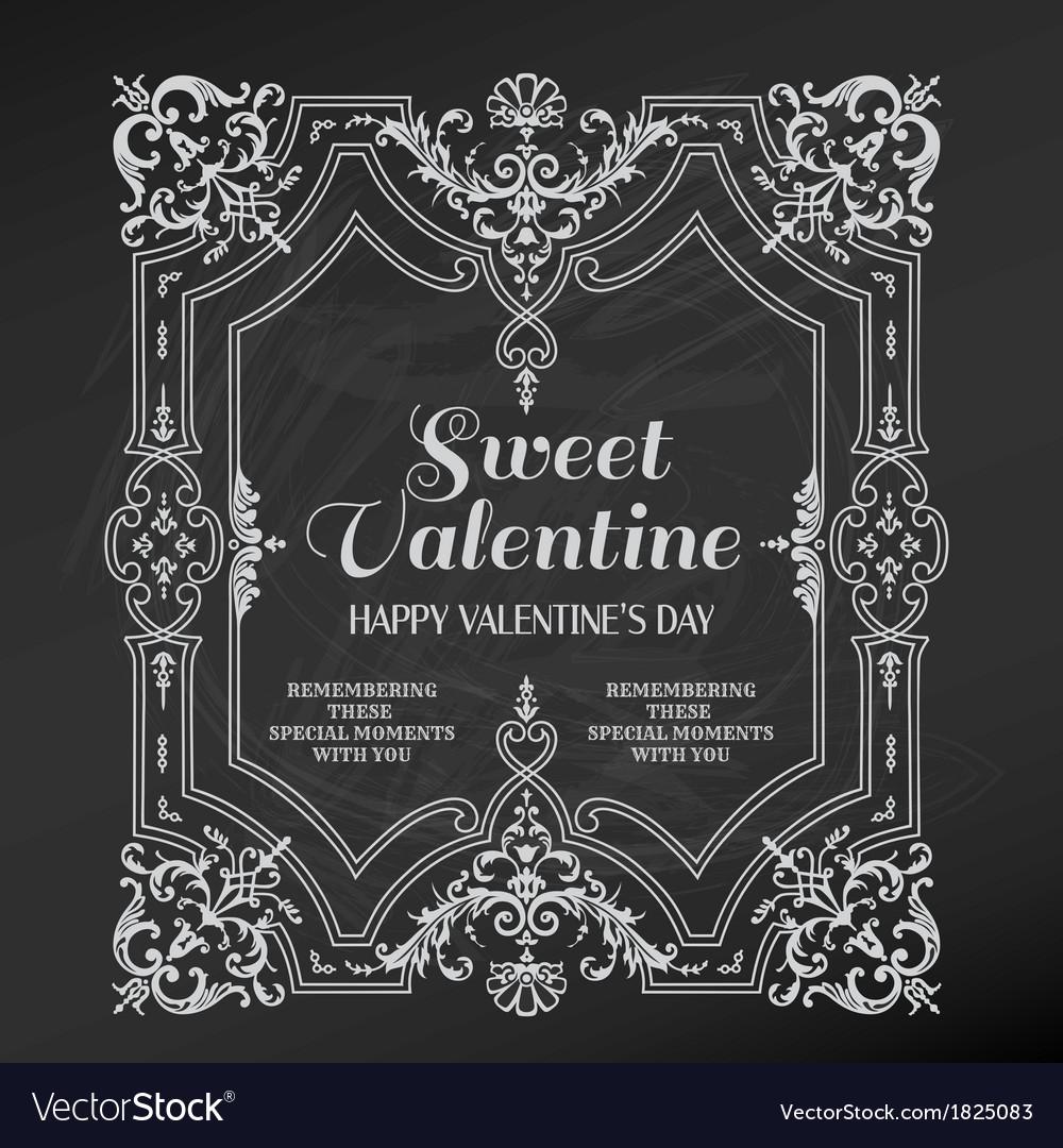 Vintage valentines day card design vector | Price: 1 Credit (USD $1)