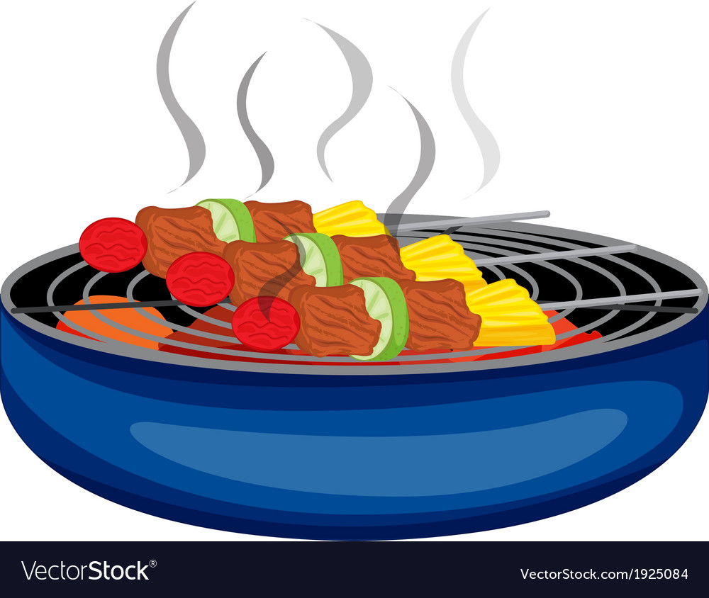 Barbeques cooked above the barbeque grill vector | Price: 3 Credit (USD $3)