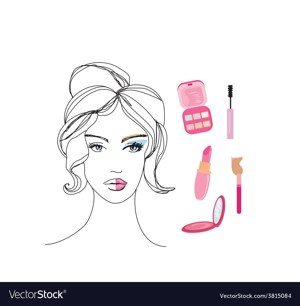 Beautiful girl wearing half face makeup vector | Price: 1 Credit (USD $1)