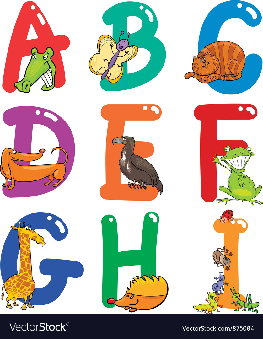 Cartoon colorful alphabet with animals vector | Price: 1 Credit (USD $1)