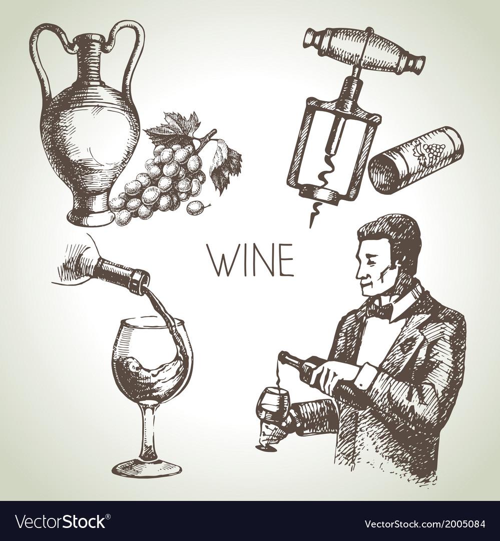 Hand drawn sketch wine set vector | Price: 1 Credit (USD $1)