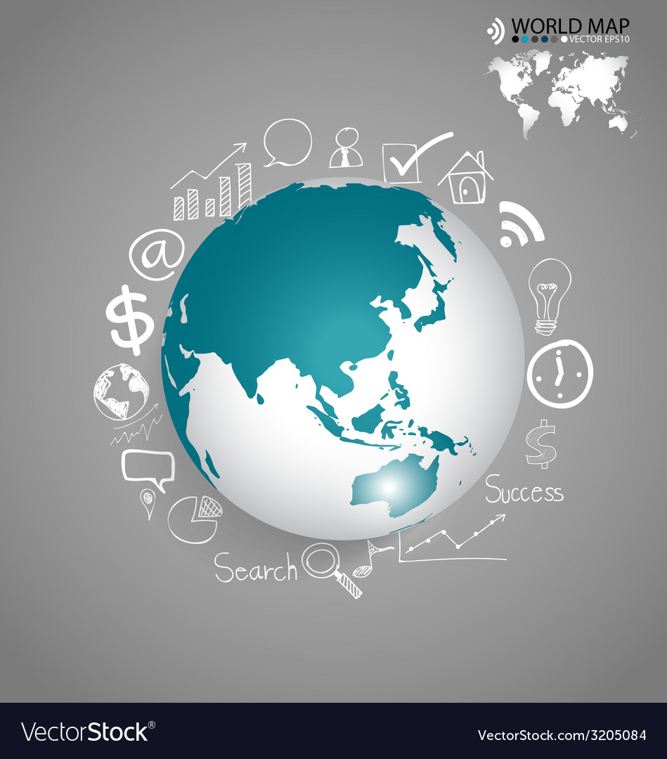 Modern globe with application icon modern template vector   Price: 1 Credit (USD $1)