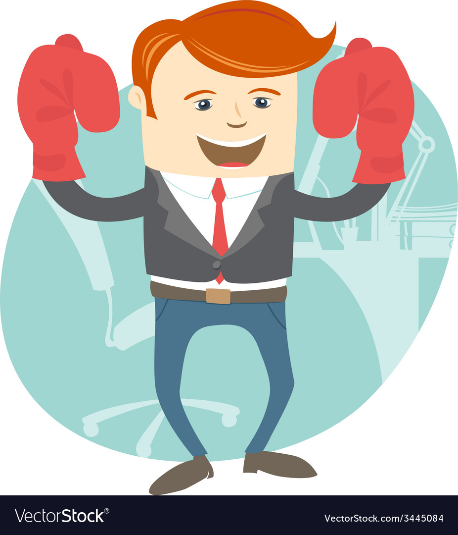 Office man wearing boxing gloves in front of vector | Price: 1 Credit (USD $1)
