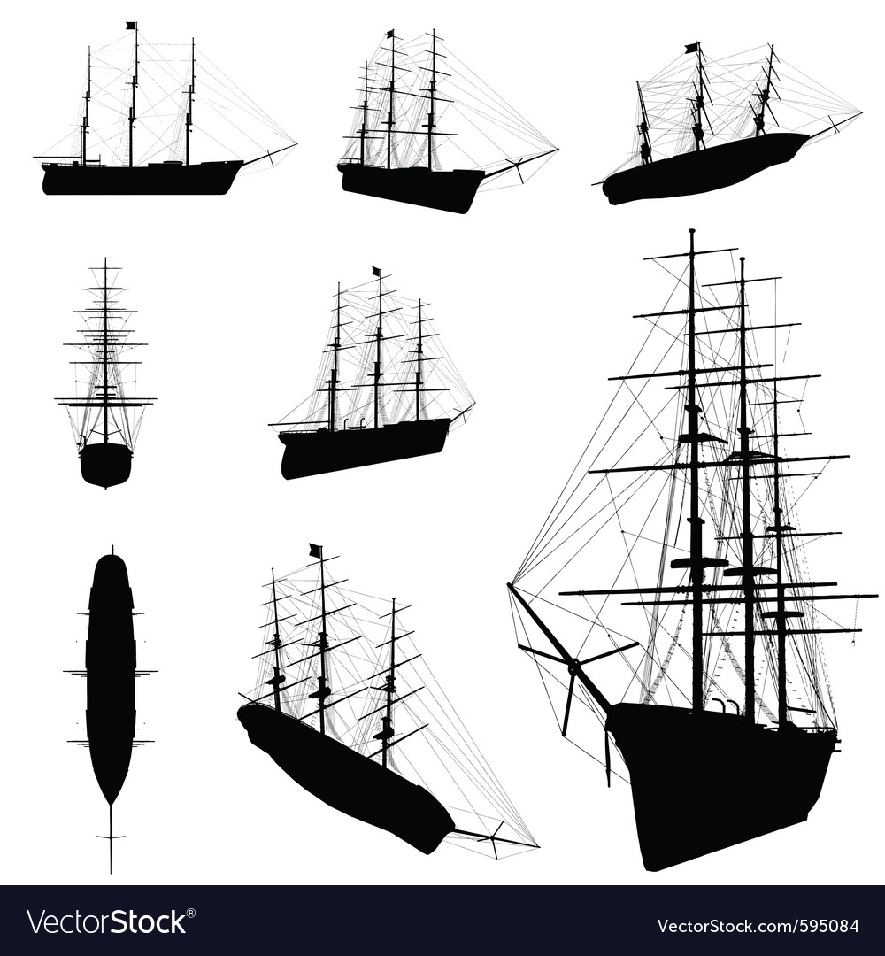 Old ship silhouette vector | Price: 1 Credit (USD $1)