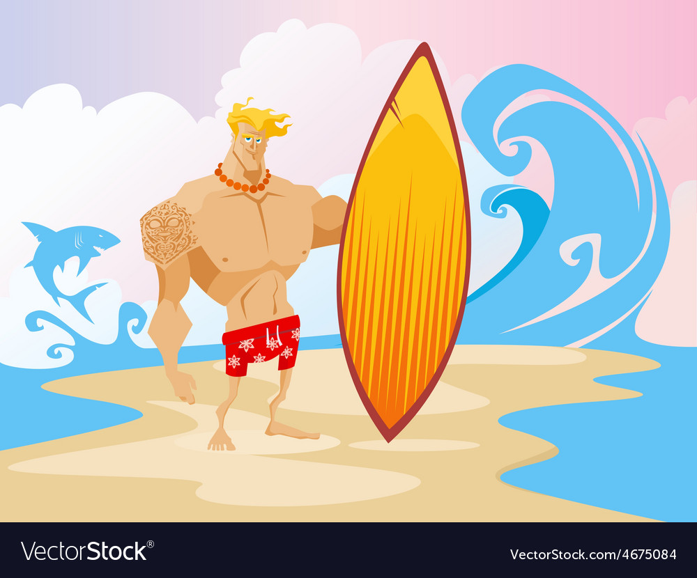 Surfer on the beach caracter vector | Price: 3 Credit (USD $3)
